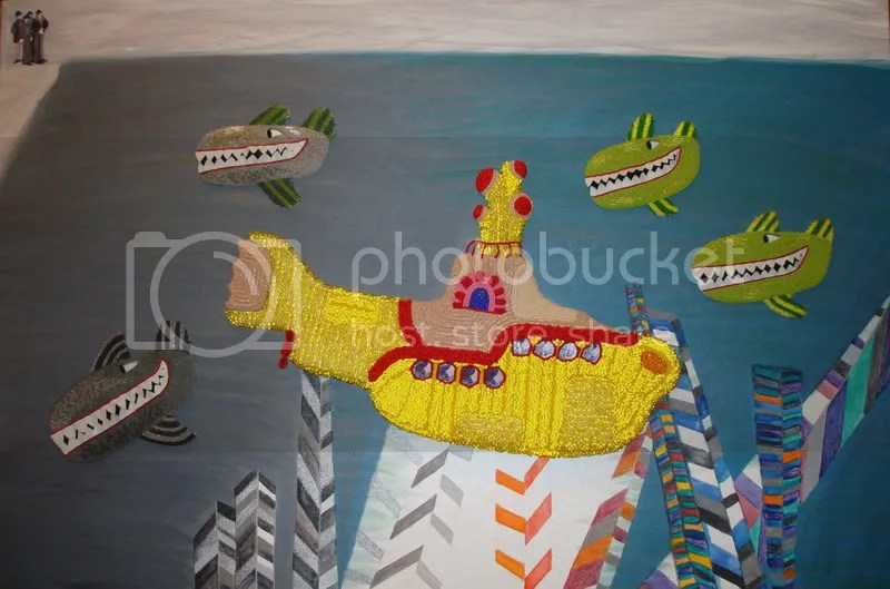 Beaded Mixed Media Beatles Yellow Submarine Blue meanies Hijack Pepperland Boston bead artist