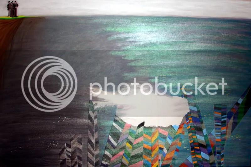 Beaded Beatles Yellow Submarine Pop Art Painting Boston Artist London bead embroidery Blue Meanies hijack