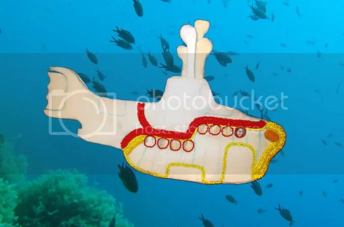 Beaded Yellow Submarine bead embroidery pop art Boston artist Beatles Blue Meanies painting underwater