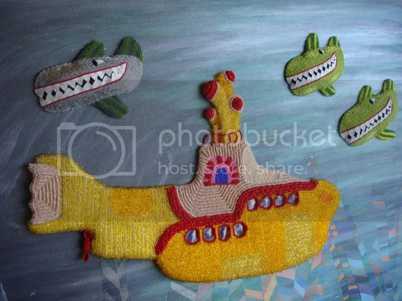 Beaded Beatles Yellow Submarine pop art Boston London Blue Meanies Attack Pepperland Hijack seed beads Beader