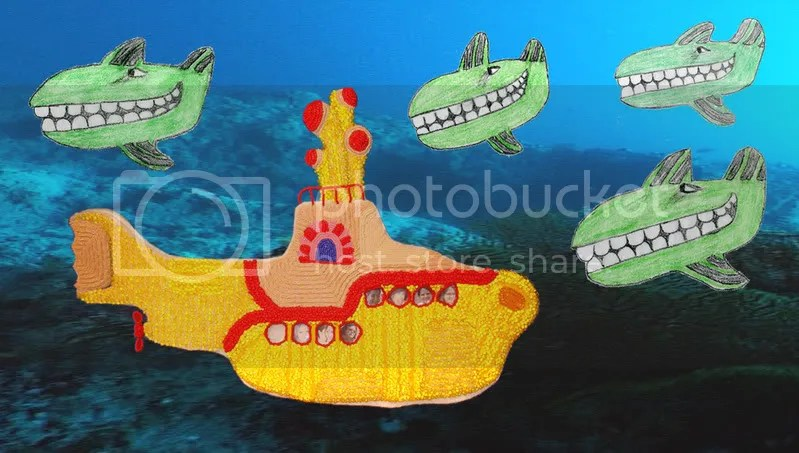 Beaded Beatles Yellow Submarine Boston pop art Lone Beader Green Whales Sea Bead Embroidery artist