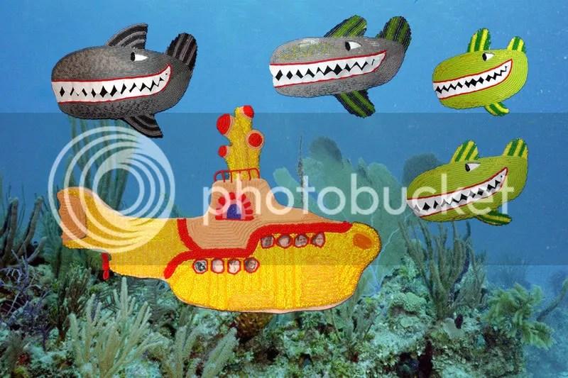 Beaded Beatles Yellow Submarine Hey Bulldog bead embroidery Boston pop artist Sea of Whales London