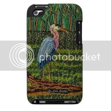 beaded iPhone cases iPod Touch Blackberry beadwork green great blue heron bird