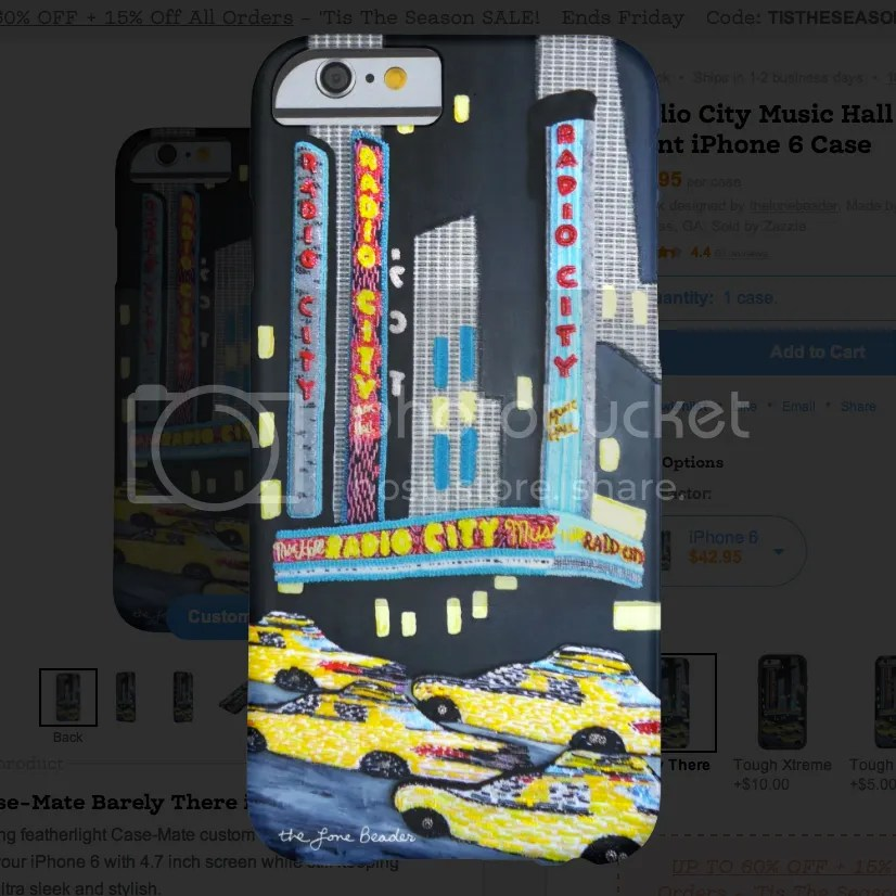 Radio City Music Hall beaded print iPhone 6 case NYC street art zazzlemade zazzle gifts