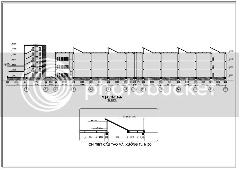 Đồ án Nhà máy lắp ráp điện tử (Đồ án kiến trúc: Đồ án K6) – Các mặt cắt