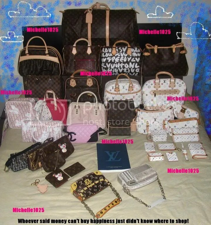 "72999147629892 ... bags Caption reads: "" Whoever said money can't buy happiness just  didn't know where to shop!"" Brands include: Louis Vuitton, Dior, Chanel"