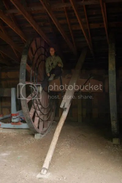 Emily and big wooden thing with wheels