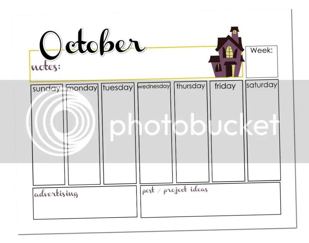 October Calendar Printable