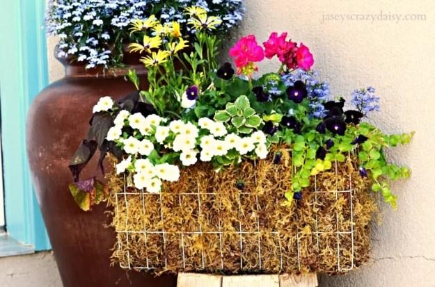 Upcycled Freezer Basket Planter