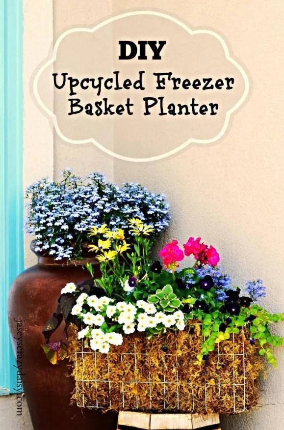 DIY Upcycled Freezer Basket Planter