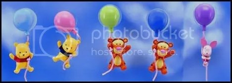 #WP004 – Winnie & Friends Hanging on Balloon - S$2.50 (each), S$10 (all 5)