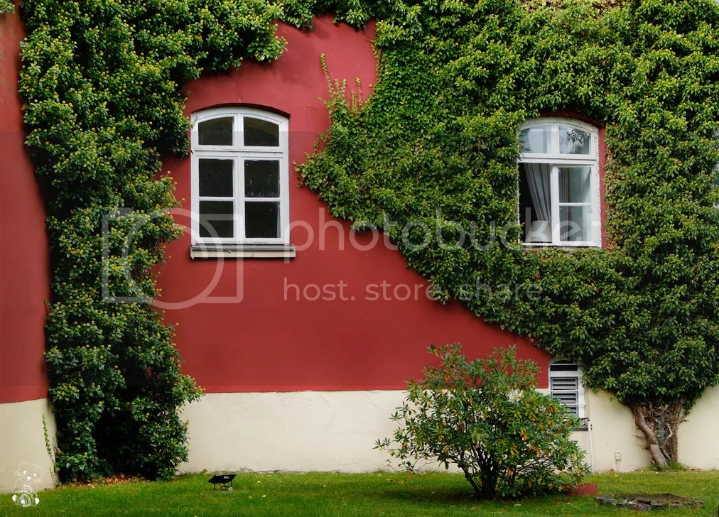 Outside wall and windows of the Spyker Castle on the Rügen Island at the Baltic Sea in  Germany