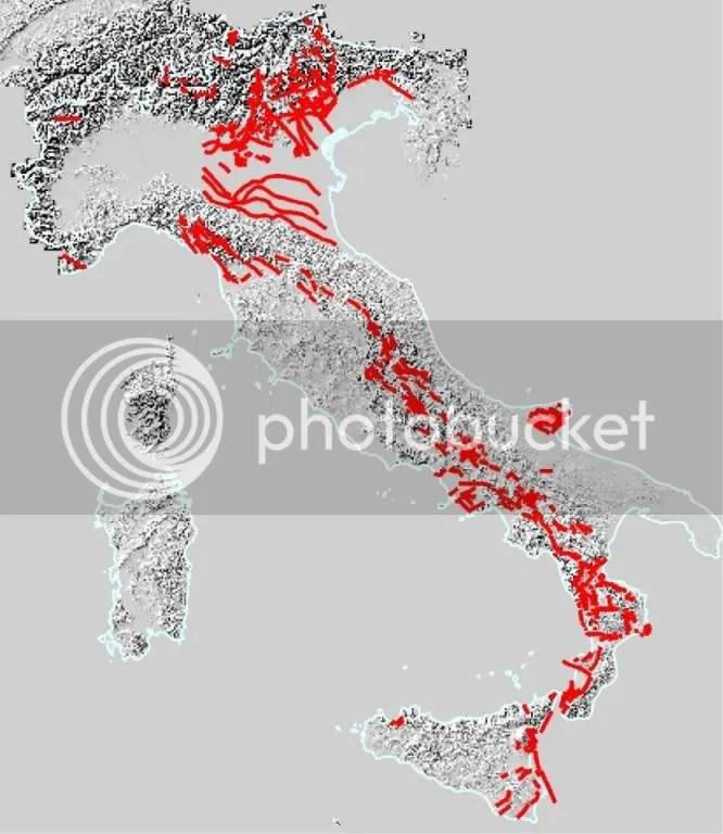 Mappa delle faglie tardo-quaternarie dell'Appennino Meridionale e dell'Italia (2/3)
