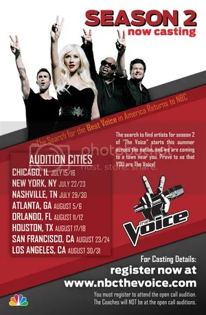The Voice Season 2 Open Casting Calls