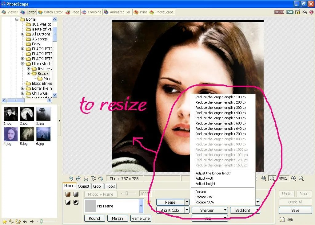 Resize tool
