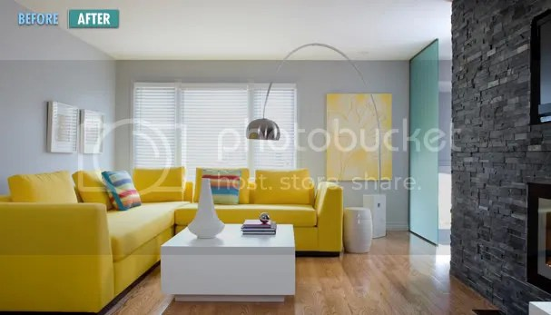 Modern-blue-gray-and-yellow-living-room-with-yellow