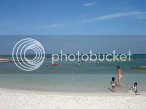 Strand aan ons hotel Sandos Caracol aan de Riviera Maya