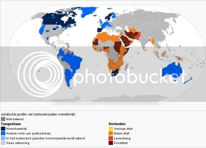 Juridische positie van homoseksuelen wereldwijd.