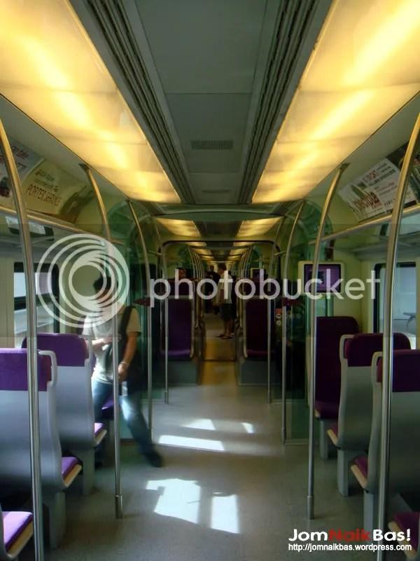 The interior of a KLIA Transit EMU trainset.