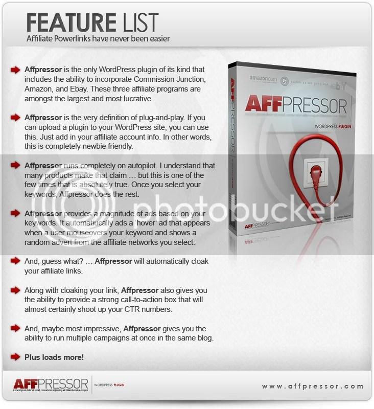 Affpressor Features List