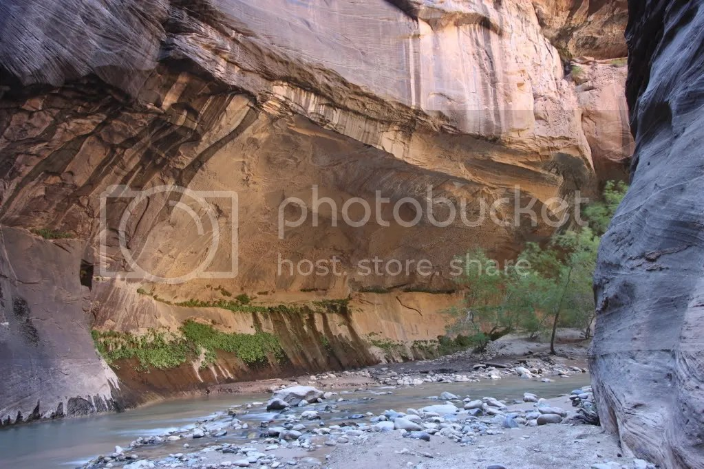 a curving overhang at the base of the canyon wall