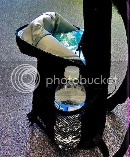 Side mesh pocket with bottle
