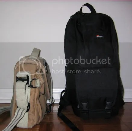 Comparing the Domke F-803 (side) and Fastpack 100 (front)