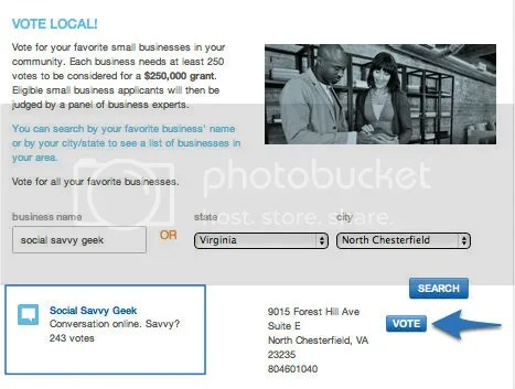Mission Small Business Vote for Social Savvy Geek Step 4