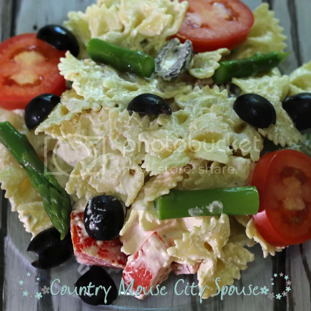 Country Mouse City Spouse- Asparagus Pesto Pasta Salad