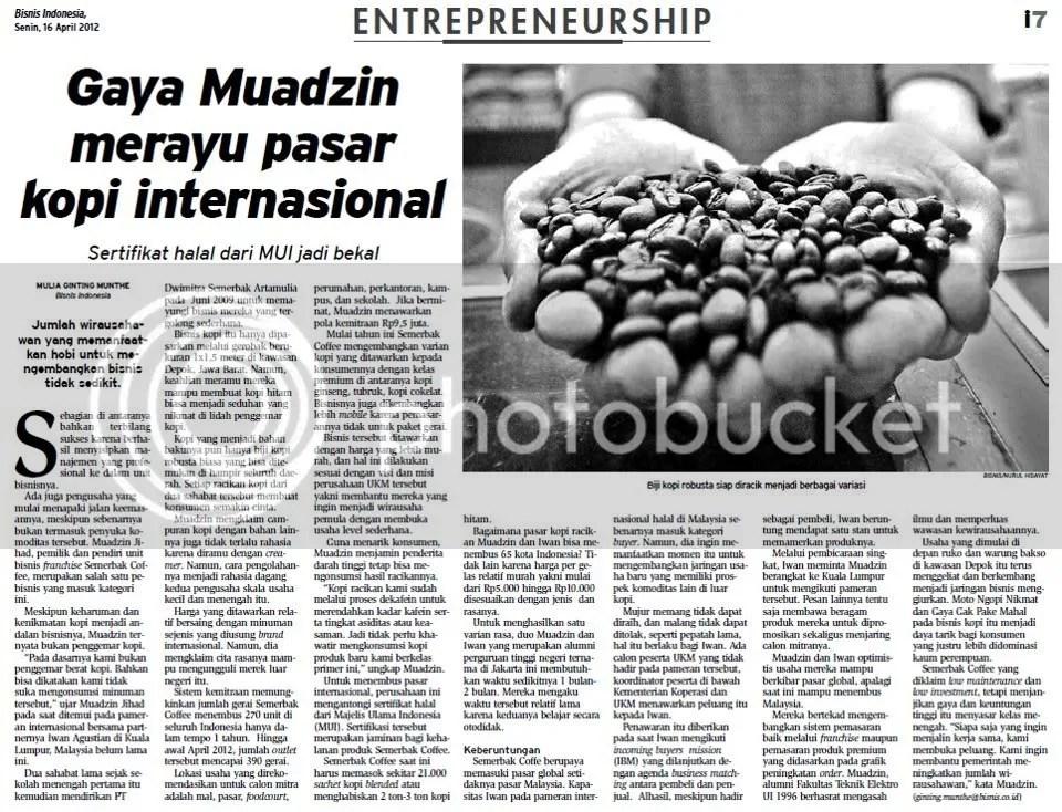 Liputan Semerbakcoffee di Harian Bisnis Indonesia 16 April 2012