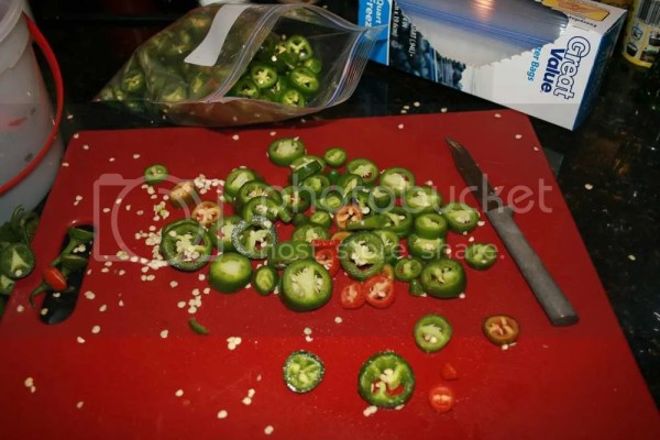 picture of cutting board with sliced jalapeno's