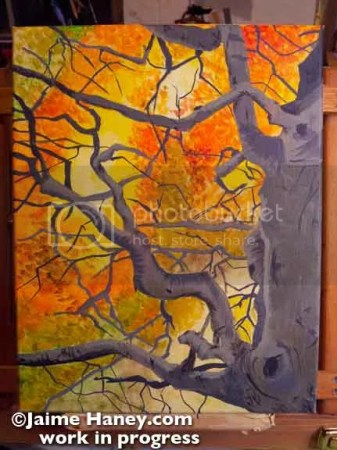 painting of looking up into a beech tree in autumn