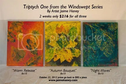 triptych of acrylic canvas painting of autumn nature