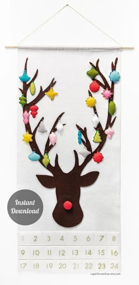 "DIY Reindeer Felt Pattern Advent Calendar | Sugar House Shop ""Create your own colorful reindeer advent calendar with Sugar House Shop's downloadable instructions. I love how Rudolph's antlers get fancier every day and know my kids would adore helping to decorate Santa's helper. """
