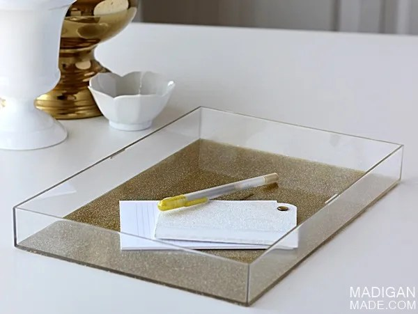 DIY acrylic tray with gold glitter bottom (made from an old box frame!)
