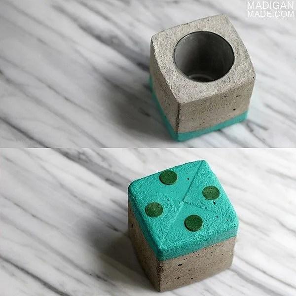 DIY concrete paint dipped vase