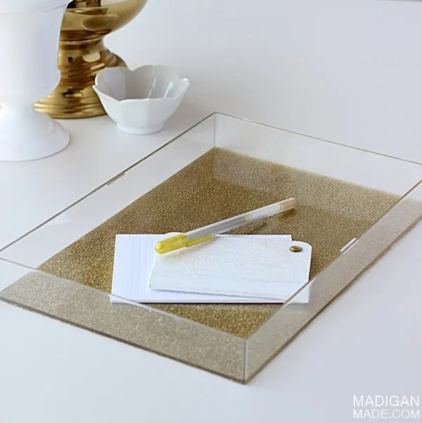 DIY Lucite tray with gold glitter (made from an old box frame!)