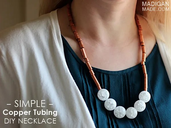 Stunning DIY necklace using copper tubing from the hardware store