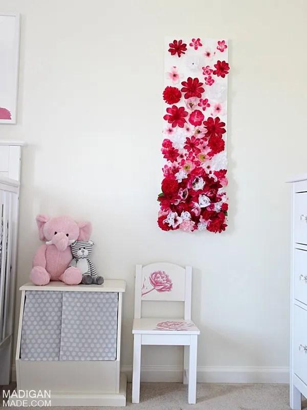 Artificial silk flower DIY wall art