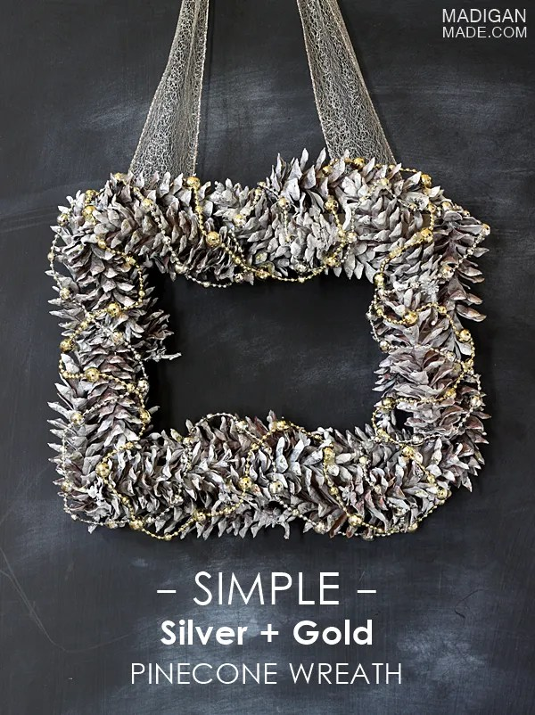 Simple DIY silver and gold pinecone wreath