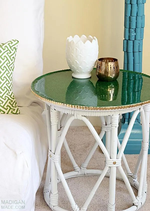 DIY thrift store side table idea with glitter and brass accents