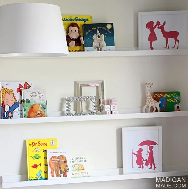 book ledges for a childrens nursery - love this idea for wall decor!