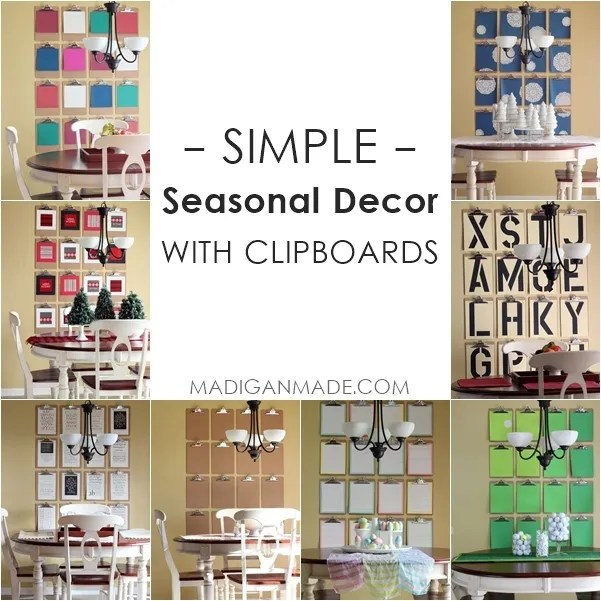 Clipboards: A Simple Way to Change Your Décor - love all of these seasonal ideas!