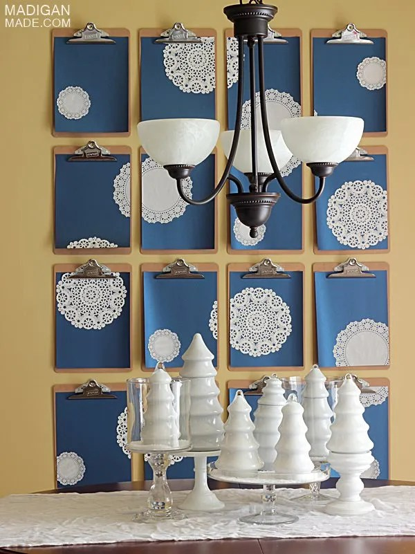 Cobalt and snowflake holiday decor idea and centerpiece