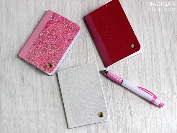DIY glitter covered mini notebooks