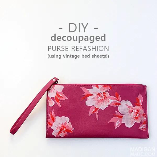 DIY Purse Refashion with Vintage Fabric