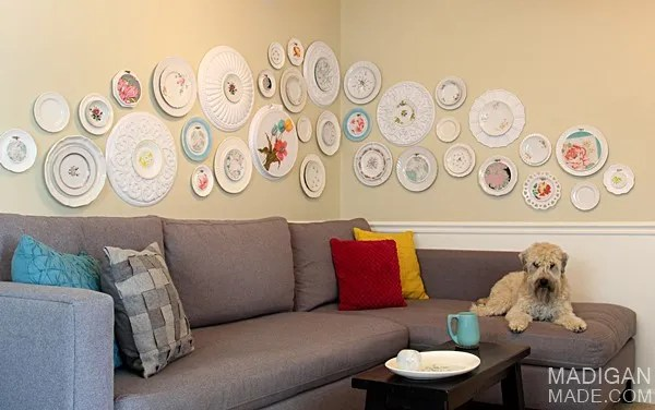 DIY wall art using vintage plates, fabric and ceiling medallions
