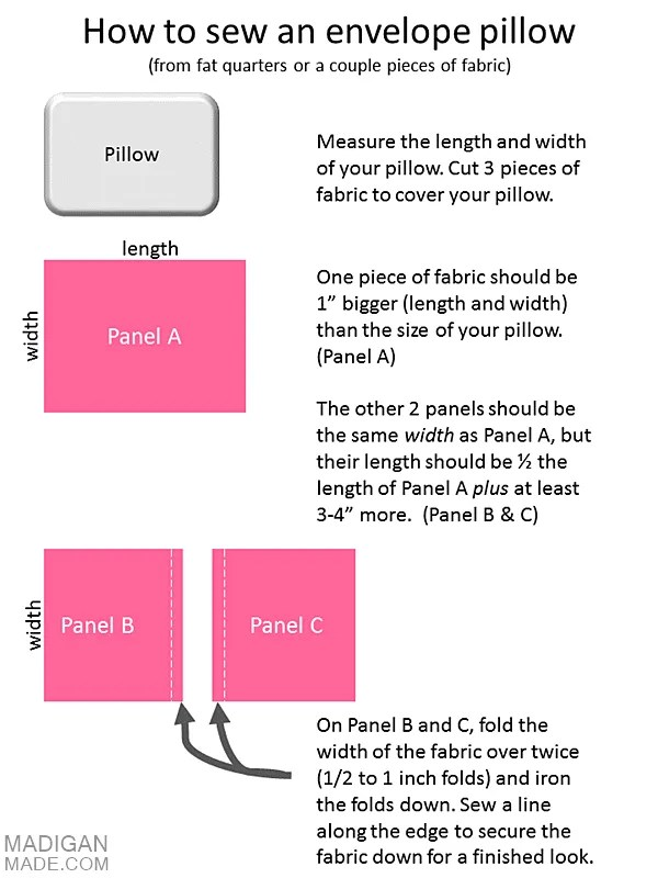 easy DIY envelope pillow instructions