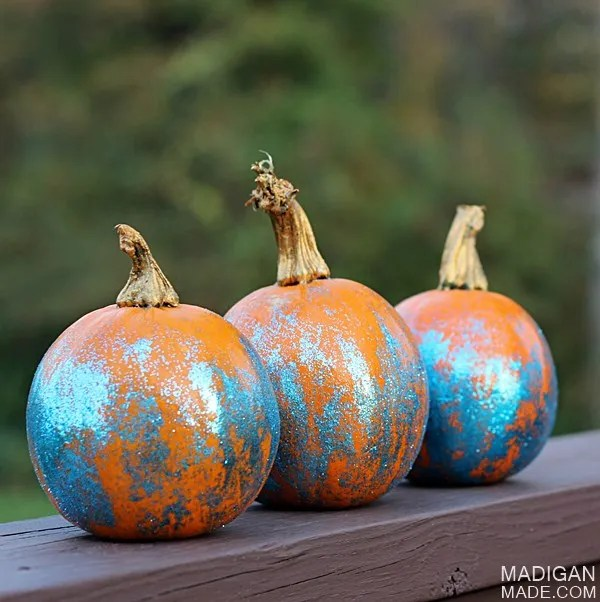 pumpkins with ombre glitter