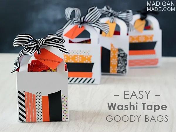 Easy Halloween goody bags using cute washi tape